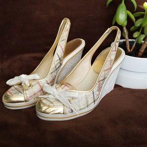 COACH Emilanna Graffitti Lace Up Wedge Shoes
